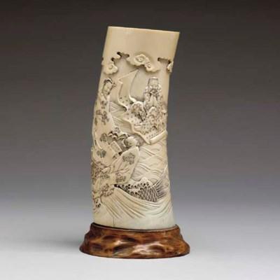 A JAPANESE IVORY BRUSH HOLDER,