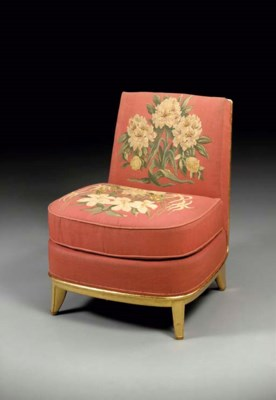 A gilt wood and floral tapestr
