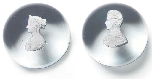 TWO SULPHIDE PORTRAIT WEIGHTS