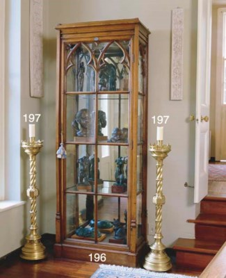 A PAIR OF GOTHIC BRASS ALTAR C