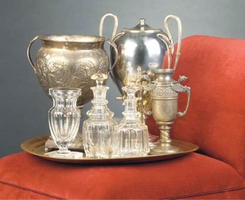 TWO CUT GLASS CARAFES AND A CU