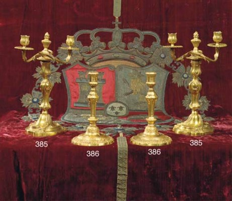A PAIR OF ORMOLU TWO-LIGHT CAN