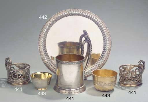 A Russian silver salver