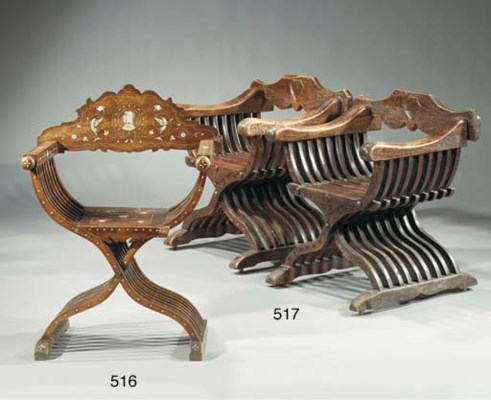 A pair of Italian stained wood