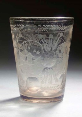 A Dutch-engraved cut-glass flo