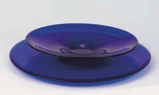Two Italian blue glass dishes