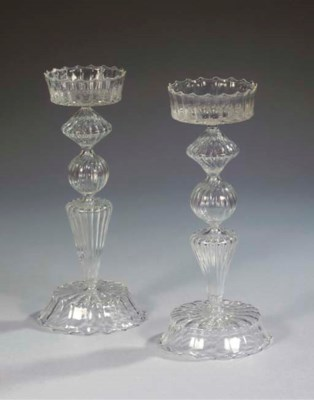 A set of two glass candlestick