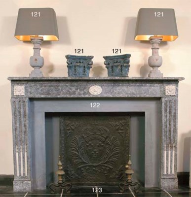 (3)  A French cast iron hearth