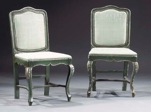 A pair of Italian green painte