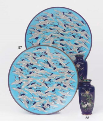 A pair of cloisonne dishes