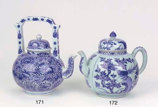 A blue and white large teapot