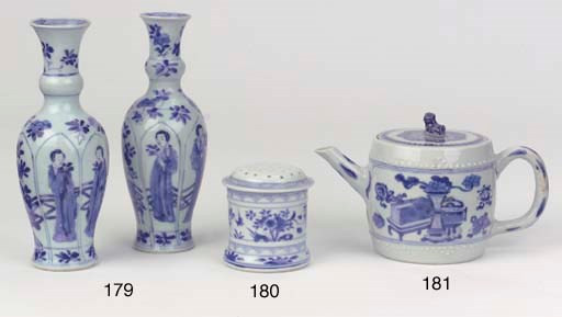 A blue and white teapot and co