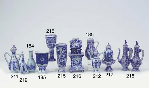 A blue and white ewer and a co