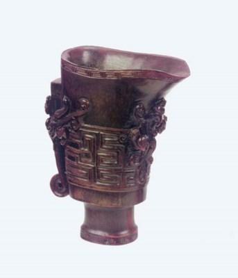 A horn libation cup