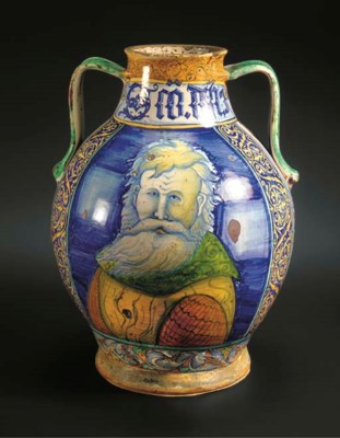 A large Castelli maiolica two-