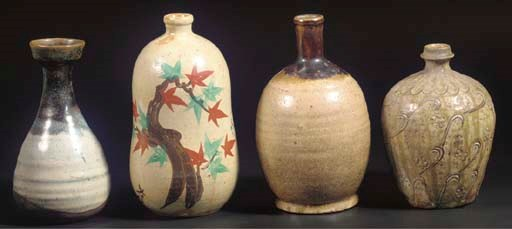 (4) A Japanese Seto ware vase