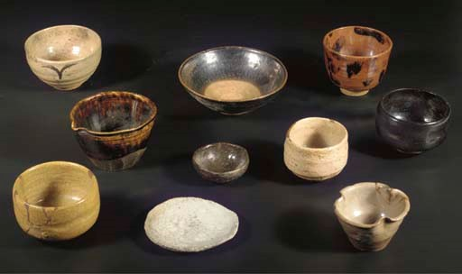 A group of ten stoneware chawa