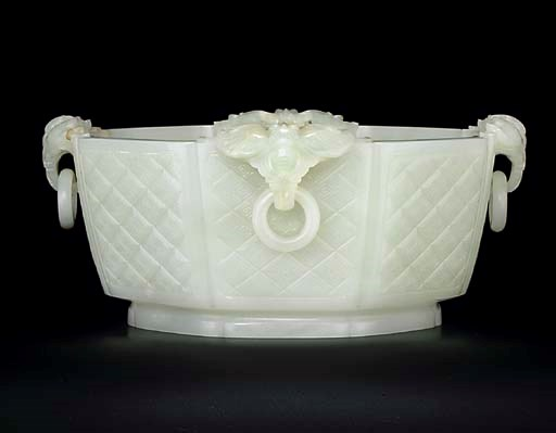 A WHITE JADE OCTAGONAL BOWL