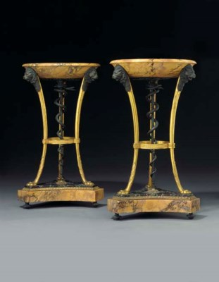 A PAIR OF EMPIRE PATINATED BRO