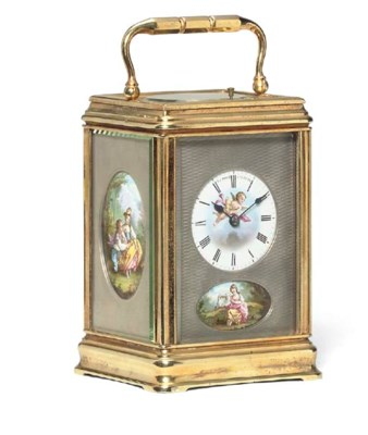A French gilt-brass and enamel