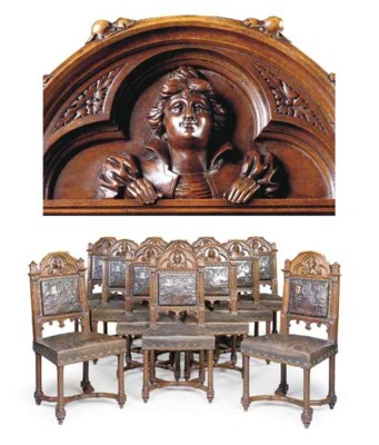 A SET OF TWELVE FRENCH WALNUT