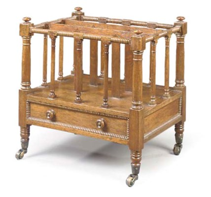 AN EARLY VICTORIAN OAK CANTERB