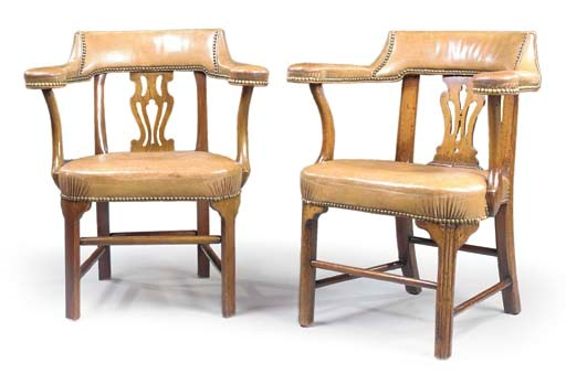 A MATCHED PAIR OF ARMCHAIRS