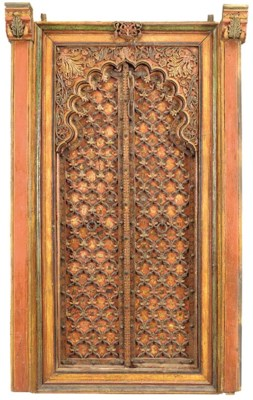A PAIR OF PAINTED WOODEN DOORS