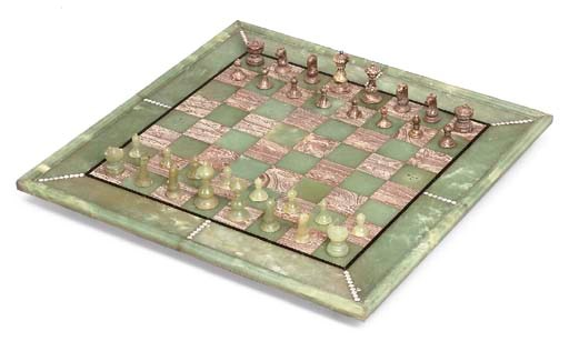 A HARDSTONE CHESS-SET AND BOAR