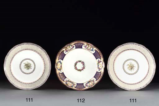A PAIR OF SEVRES PLATES
