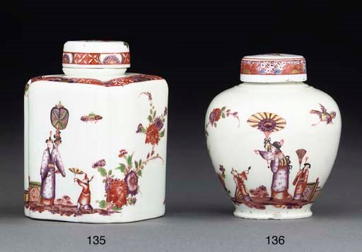 A Meissen oviform teacaddy and