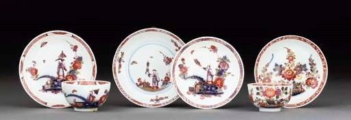 A Meissen teabowl and saucer,