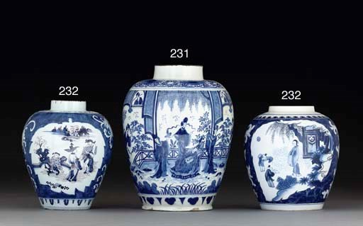 A DUTCH DELFT OVIFORM VASE AND