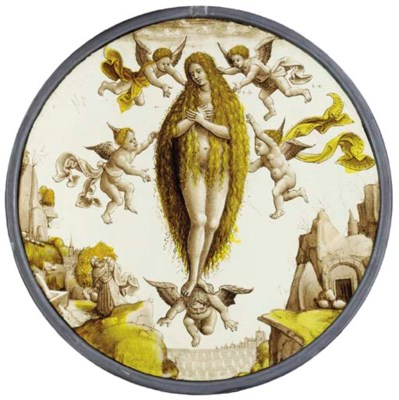 A STAINED GLASS ROUNDEL