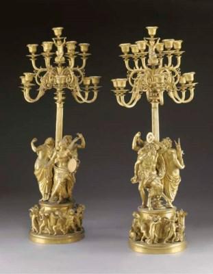 A pair of Napoleon III ormolu