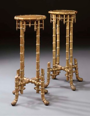 A pair of faux-bambou giltwood