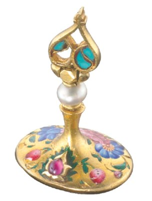 A QAJAR ENAMELLED GOLD AND CRY