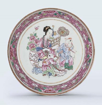 A FAMILLE ROSE SAUCER-SHAPED D