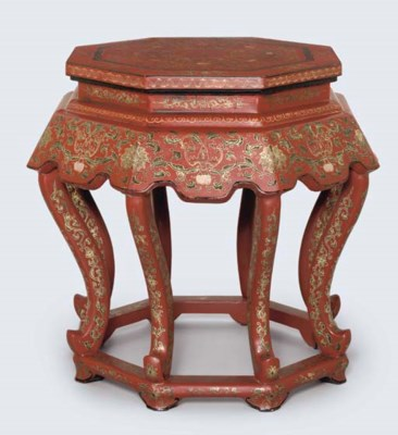 A PAIR OF RED LACQUER OCTAGONA