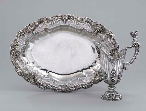 A Portuguese silver ewer and b