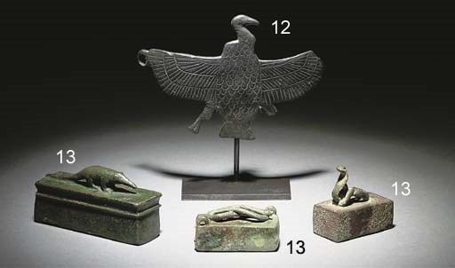 THREE EGYPTIAN BRONZE MINIATUR