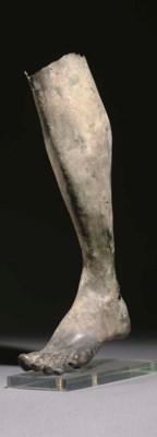 A ROMAN BRONZE MALE LEFT LEG