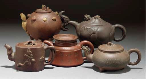 Five various Yixing teapots an