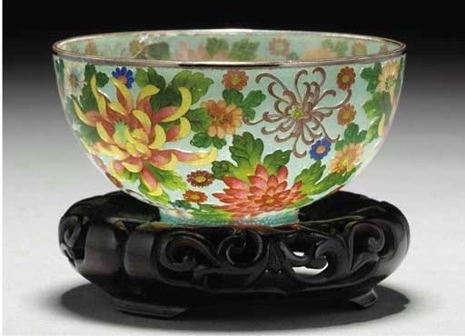 A Japanese plique-a-jour bowl,