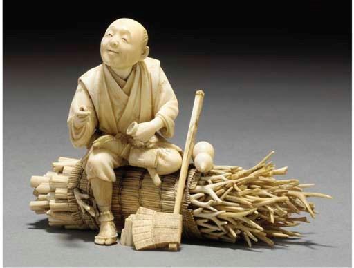 A Japanese ivory sectional oki