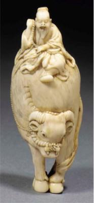A Japanese ivory netsuke of an