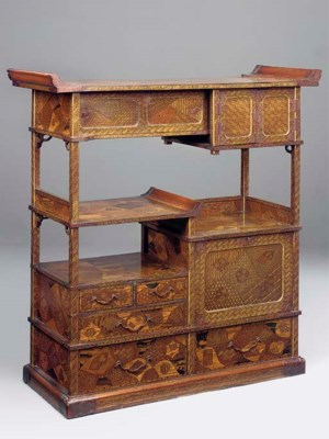 A large Japanese marquetry cab