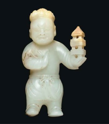 A white jade model of an immor