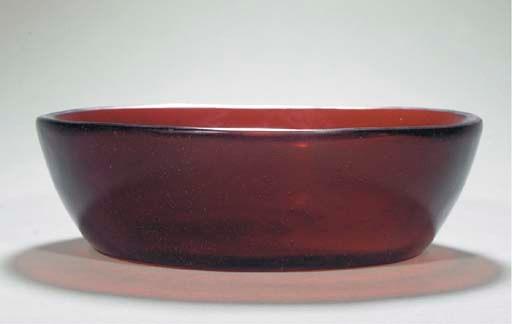 A red glass translucent shallo
