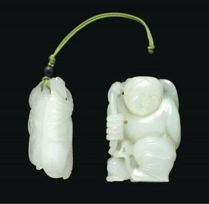 A white jade carving of Liuhai